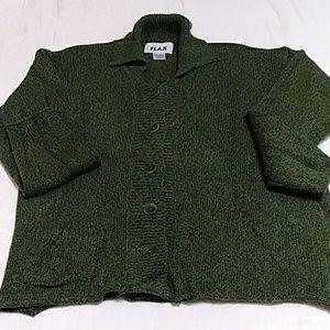 Flax Cardigan Olive Green Sz S/M